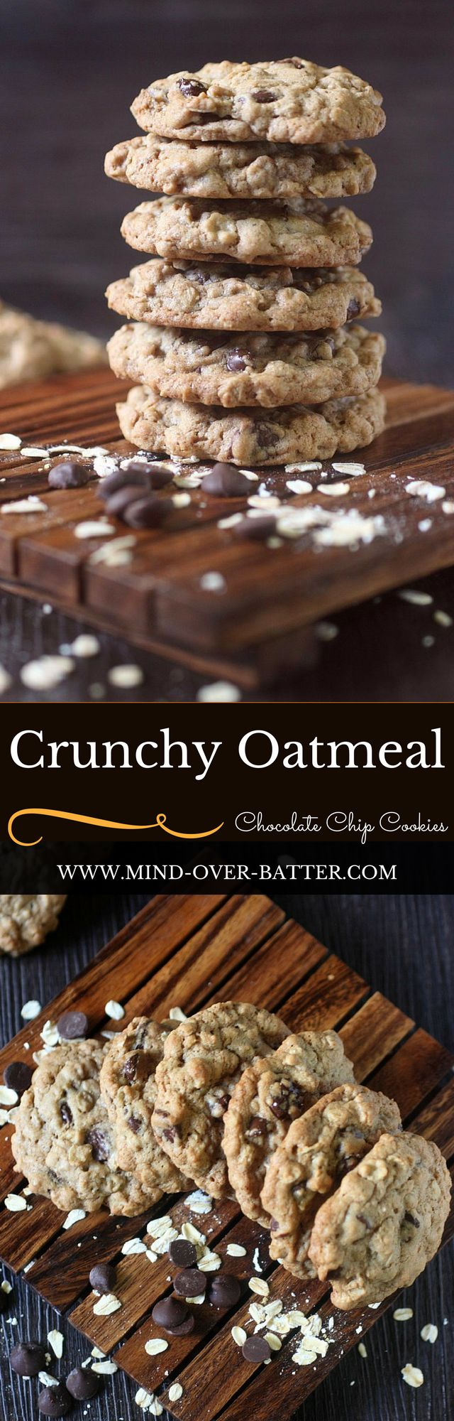 Crunchy Oatmeal Chocolate Chip Cookies -- www.mind-over-batter.com