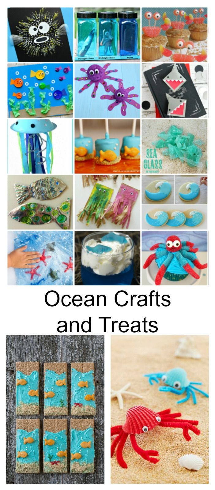 Craft Ideas| It's summertime and some of you may be heading to the ocean. For those of you that are not, why not bring the ocean to you with these fun Ocean Crafts and Treats. These ideas would also be great for an ocean themed party or school craft idea. Which ones are your favorites?