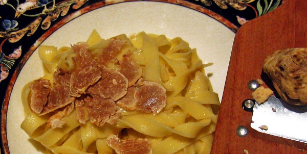 Great way to use White Truffles is hand made tagliatelle.  Learn how with classes in your home by OneGreatChef.com