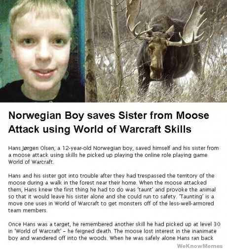 Boy saves sister from moose using World of Warcraft skills... Seriously how cute .. And WOW can teach you stuff haha love it