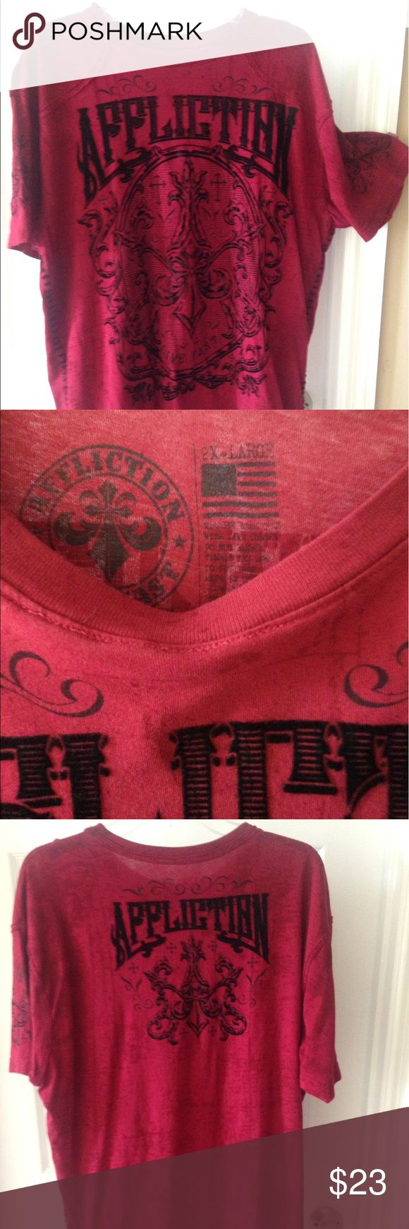 Affliction Men's T-shirt XXL Maroon red w black graphic- majority in velvet material. Yarn-like stitching starting under armpits to bottom as shown. Great condition. Affliction Shirts Tees - Short Sleeve