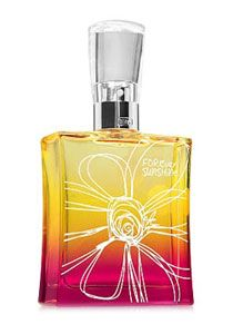 Forever Sunshine Perfume by Bath & Body Works @ Perfume Emporium.  Top Notes: juicy tangerine, golden apricot, sparkling mandarin, exotic berries Mid Notes: gardenia petals, freesia, pink peonies Dry Notes: vanilla bean gelato, creamy sandalwood, nuzzly musks, a touch of sweet praline