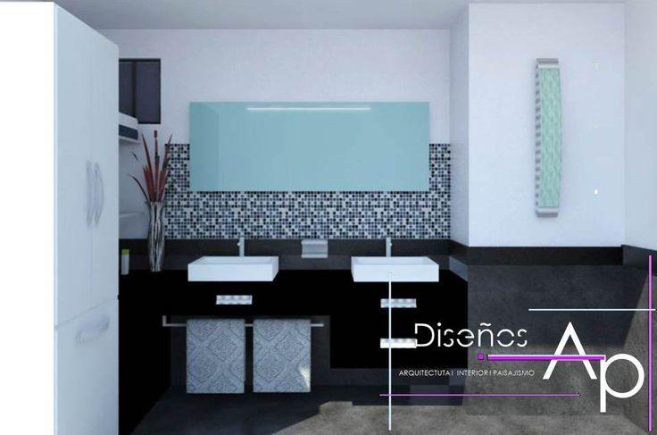 Un elegante y sofisticado diseño para el cuarto de baño con la combinación de piezas cerámicas.