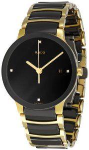 #Rado Men's R30929712 Centrix #Jubile Gold Plated Stainless Steel Bracelet Watch:Stainless steel case with a gold-plated stainless steel bracelet with black ceramic inserts. Fixed black ceramic bezel.