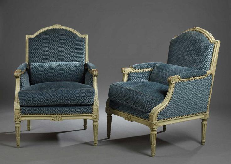 Paire de bergères, estampillées J.Nadal. Laine, époque Louis XVI | Daguerre