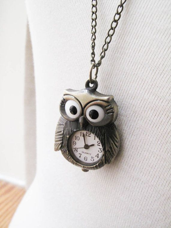 cute owl clock necklace. @Anna Nieboer thought you'd like it.