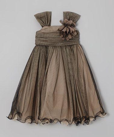 Look what I found on #zulily! Champagne & Black Flower Dress - Toddler & Girls #zulilyfinds