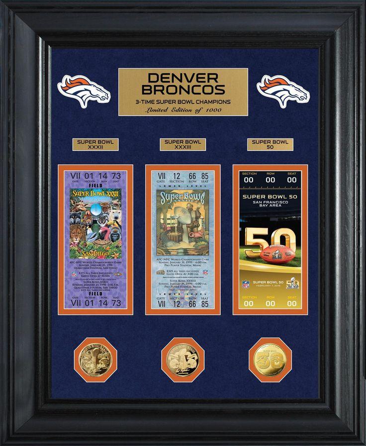 MyTeamPrints.com - Denver Broncos Framed Super Bowl Ticket Collection, $69.00 (https://www.myteamprints.com/denver-broncos-framed-super-bowl-ticket-collection/)