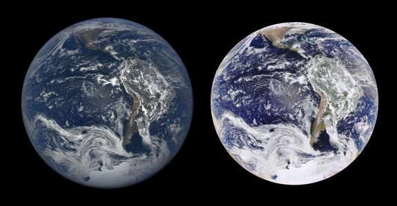 NASA's EPIC camera aboard the Deep Space Climate Observatory satellite offers spectacular views of Earth in natural color image (left) and an enhanced color image (right).