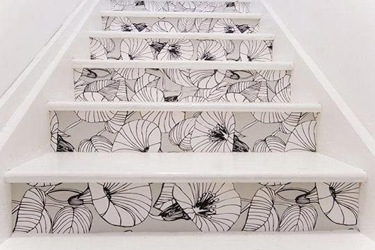 Wallpapering stairs...Such a cool idea with the right pattern