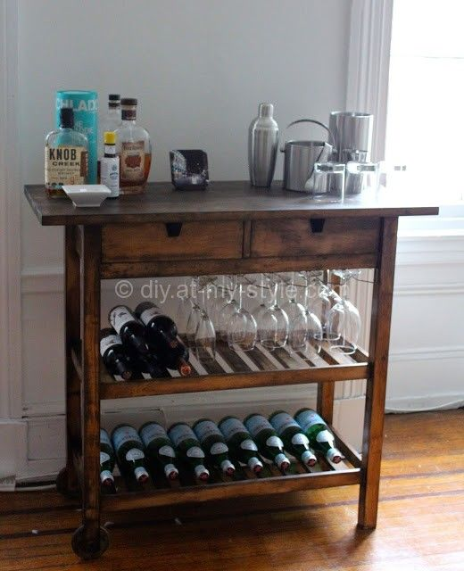 Ikea Bar Cart Hack; I have a table almost like this.  Hmm...I wonder if I could add a shelf?