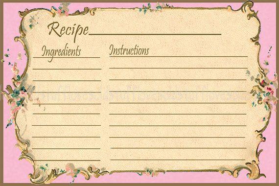 Recipe Card 4x6 Printable Digital Vintage Floral