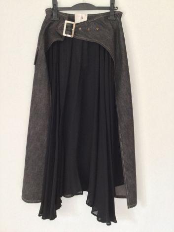 Jupe longue YOHJI YAMAMOTO Face jeans noir délavé, dos tissus rayonne noire
