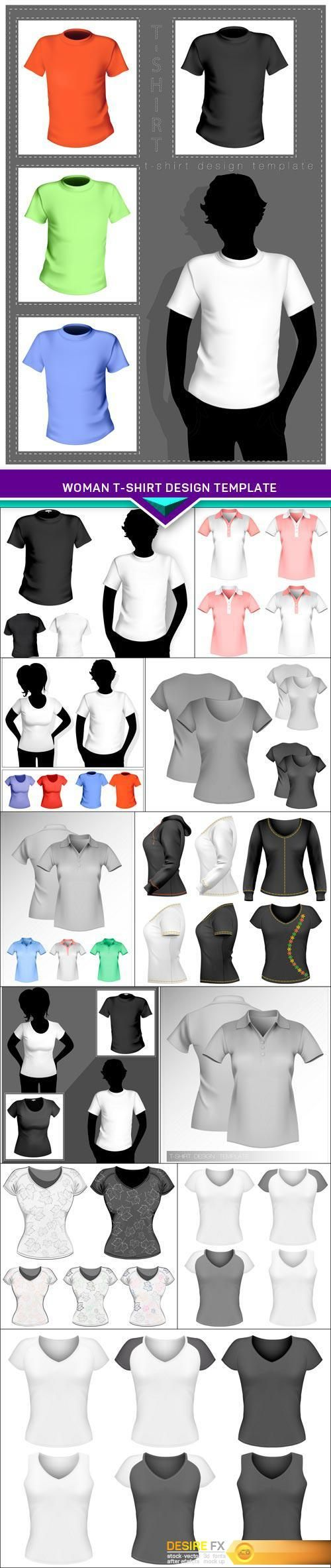 Design t shirt transfer template - Woman T Shirt Design Template Eps