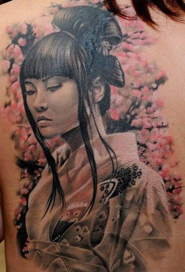 Stilvolles Tattoo mit japanischen Motiven am Rücken