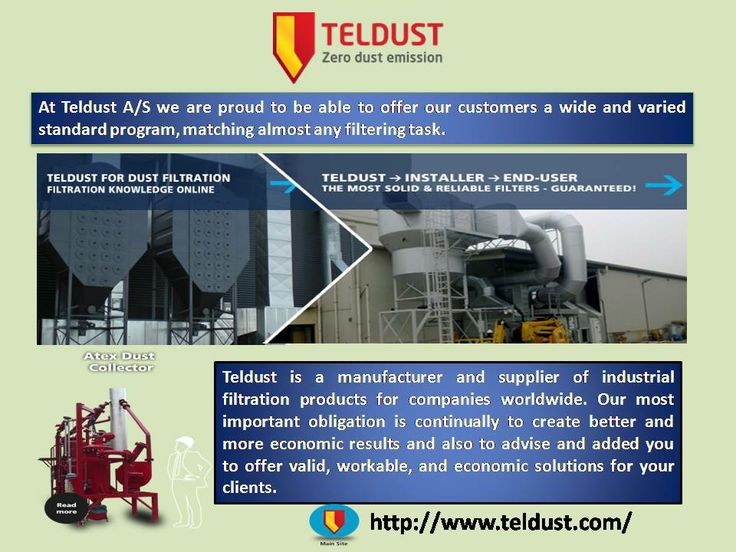 Teldust is a manufacturer and supplier of industrial filtration products for companies worldwide. Our most important obligation is continually to create better and more economic results and also to advise and added you to offer valid, workable, and economic solutions for your clients. Read More - http://www.teldust.com/