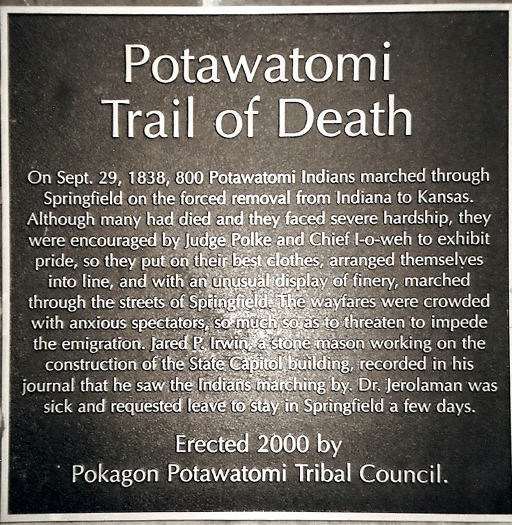 Potawatomi Indian Trail of Death Commerative Plaque