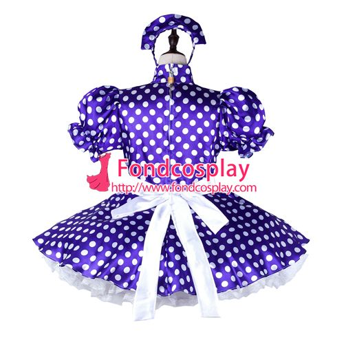 Sissy maid satin dress lockable Uniform cosplay costume Tailor-made[G2264]