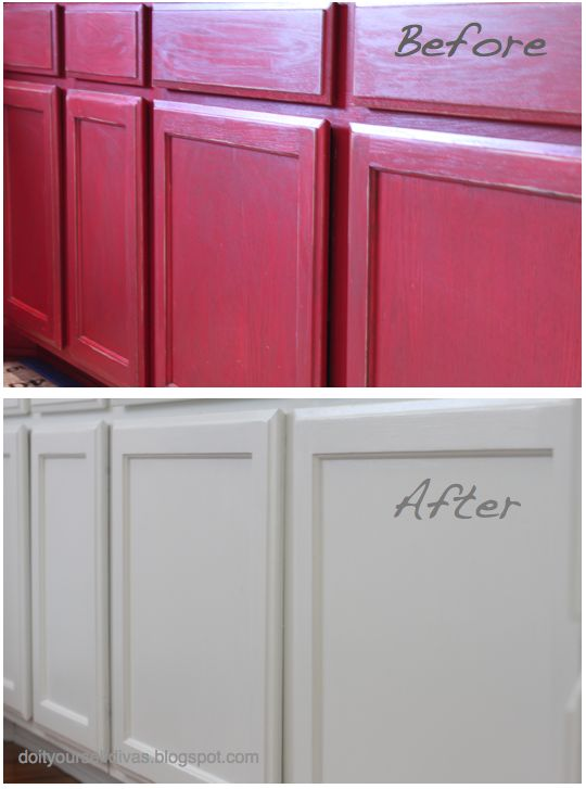 Do it yourself divas diiy how to paint over red painted for Do it yourself kitchen cabinets