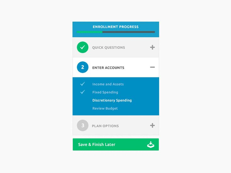 Worked on enhancing a sidebar menu that displayed a user's progress for enrollment signup.