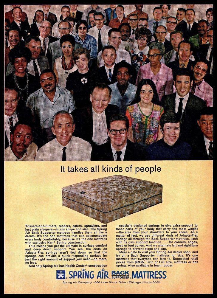 1969 Spring Air Back Supporter #Mattress #Diversity Smiling #1960s #Vintage Print #Ad #SpringAir