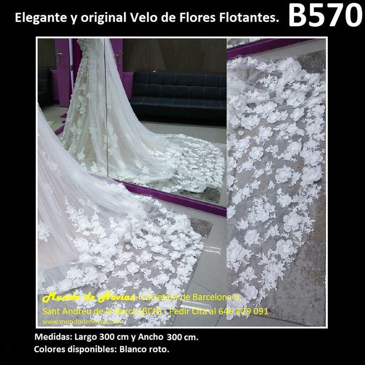 Elegante Velo de Novia de Flores flotantes, de la marca Novias Ukraine. Se hacen envíos a toda España y también se pude pedir CITA para venir a probarlo en tienda (WhatsApp 646829091).