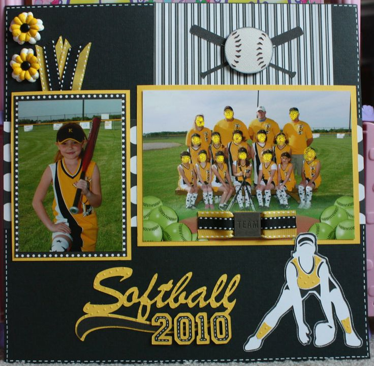 cricut softball scrapbook pages | Here's another softball layout I recently completed. This one is not ...