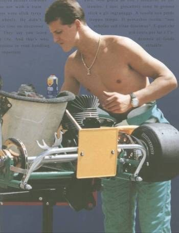 """Participating but also a mechanic, preparing his Kart. In parallel to his Formula One career Michael has never hidden his love for Karting. Regularly training at the wheel of a kart, he even dared, when at the top of his glory, to go and challenge the young kart specialists in 1996 at the Monaco Kart Cup, which he won, and in 2001, on """"his"""" Kerpen track, at the final round of the World Formula Super A Championship."""