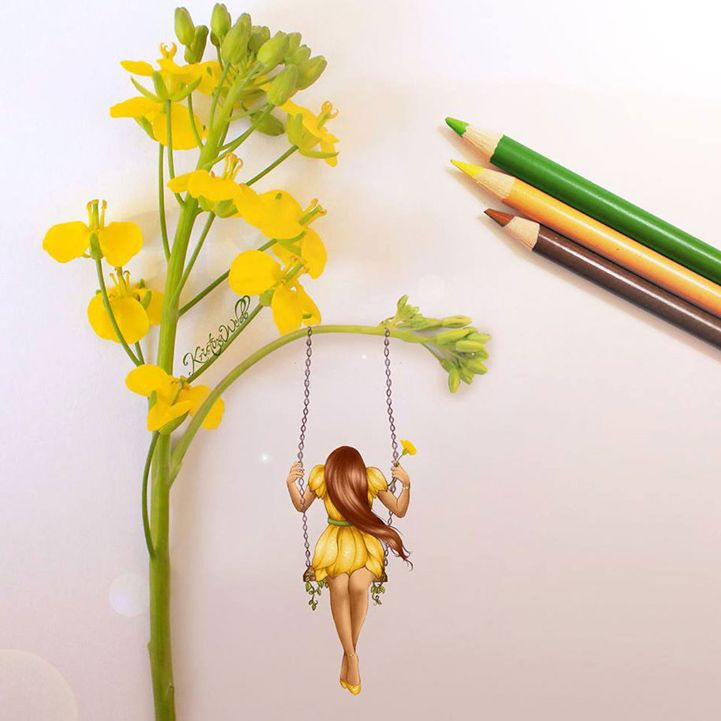 Girl on swing - Mixed media flower and colored pencil art by Kristina Webb