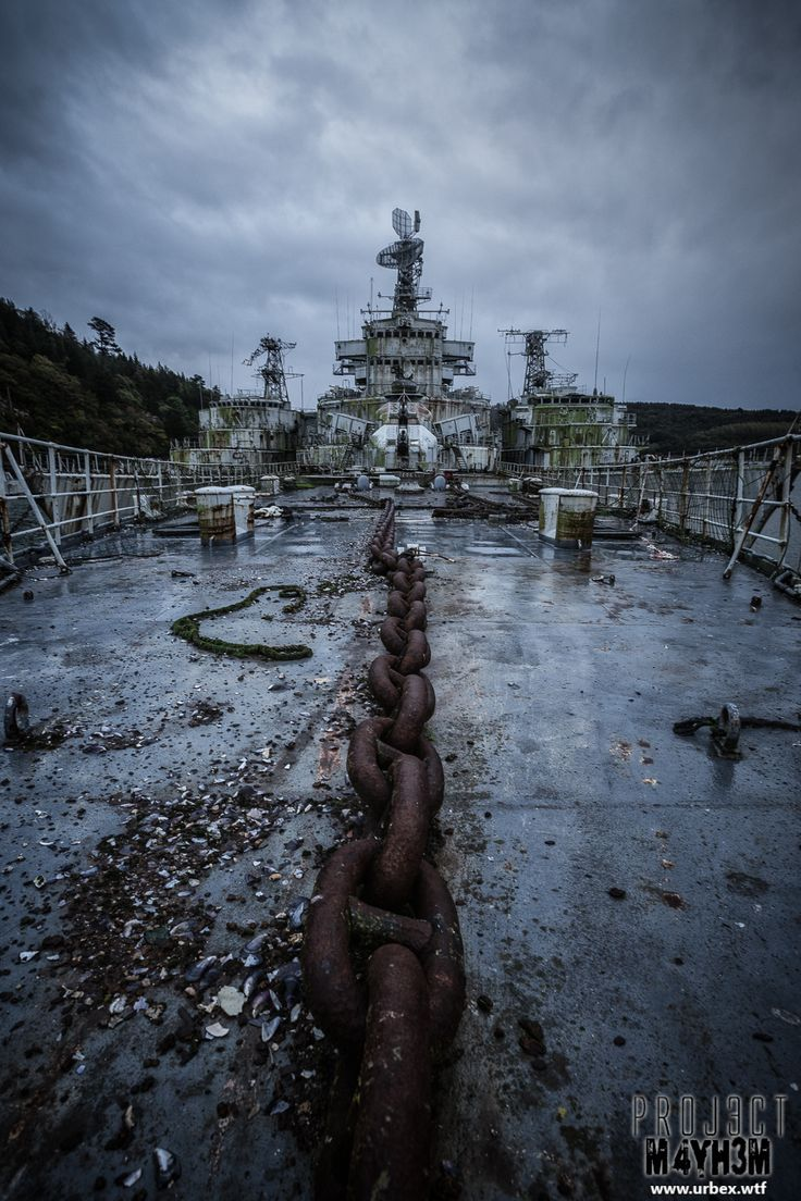 Atlantic Ghost Fleet, off shore, France. Abandoned French naval ships.