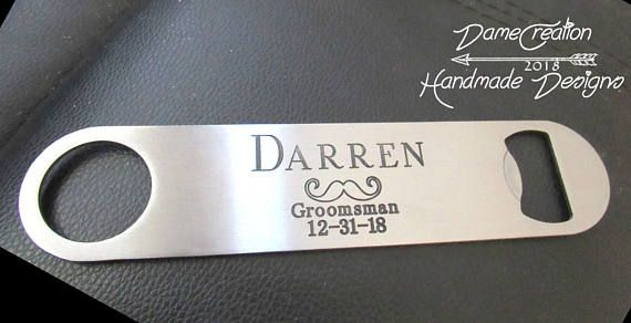 Engraved Groomsmen Bottle Opener Beer Engagement Gift! We make your designs come true!  #bottleopener #bottleopenerpersonalized #bottleopenerweddingfavors #bottleopeneretsy #bottleopenerengraving #mens #bar #beer #bottleopener #opener #groom #groomsmen #groomsman #wedding #gifts #cool #etsy #creative