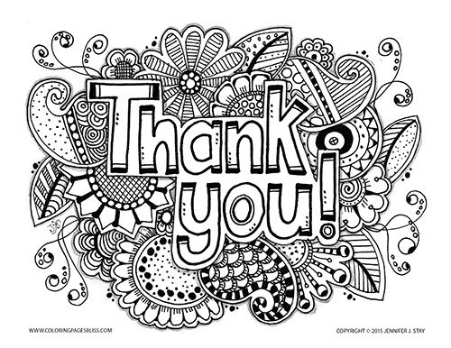 coloring pages thank you card - photo#19