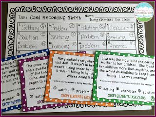 Multiple Choice Story Elements Task Cards Activity.  PERFECT for a game of Scoot!