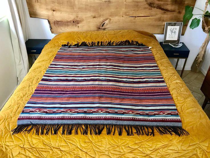 "Southwestern Pendleton Wool Blanket - Chief Joseph Native American Geometric Striped Pattern Blanket - 52"" x 61"" Warm Camping Blanket by ShopRachaels on Etsy https://www.etsy.com/listing/590880611/southwestern-pendleton-wool-blanket"