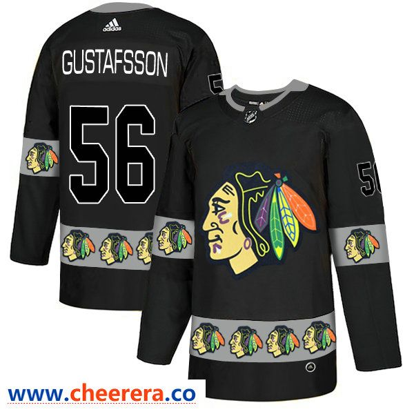 Men s Chicago Blackhawks  56 Erik Gustafsson Black Team Logos Fashion  Adidas Jersey 9ca22bc9a