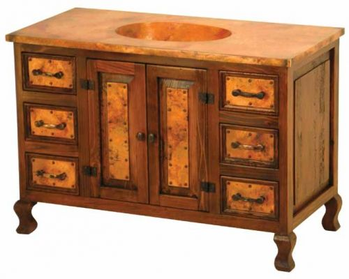 Reclaimed Wood and Copper Vanity with Six Drawers by Woodland Creek Furniture. Available Any Size & Layout Needed.  Matching linen & medicine cabinets available.