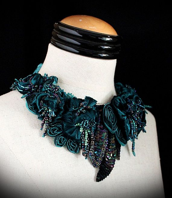 "** ""Yours Truly"" Velvet Fabric Flowers, Feathers, & Ribbons Art Necklace @carlafoxdesign"