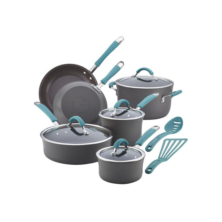 Rachael Ray Cucina 12-pc. Hard-Anodized Nonstick Cookware Set, Blue