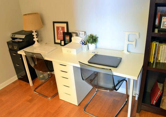 Savvy And Inspiring Double Desk Pinterest Just On Smart Homefi Design Double Desk Work Office Decor Ikea Kids Desk