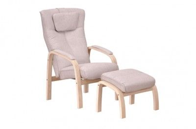 Relax hvilestol stuffed armchair beige fabric oak with footstool danish design hjort knudsen www.helsetmobler.no