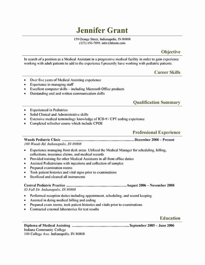 25 Medical Assistant Resume Templates In 2020 Medical Resume