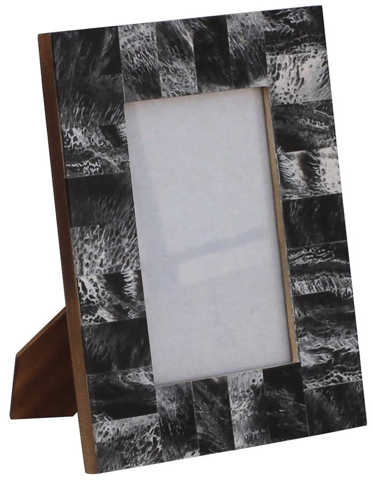Bulk Wholesale Handmade Rectangular Shaped Wooden Photo Frame / Picture Stand in Black & White Color with Abstract Pattern – Table Accessories – Home / Office Décor