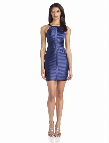 BCBGMAXAZRIA Women's Diana Fitted Dress with Strapping, Blue Depth, 2