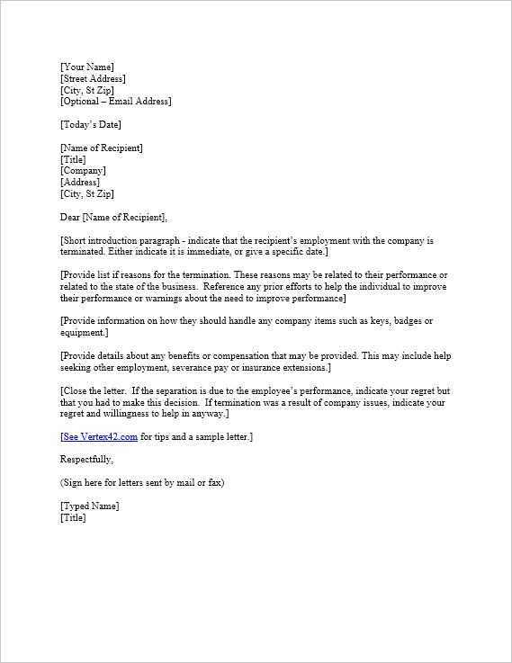 Download the Termination Letter Template from Vertex42.com