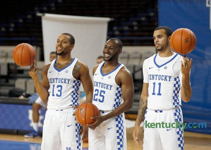 UK seniors Kentucky Wildcats guard Isaiah Briscoe (13), Kentucky Wildcats guard Dominique Hawkins (25), Kentucky Wildcats guard Mychal Mulder (11) photographed during the University of Kentucky's men's basketball photo day held in Memorial Coliseum in Lexington, Ky., Thursday, September 15, 2016.