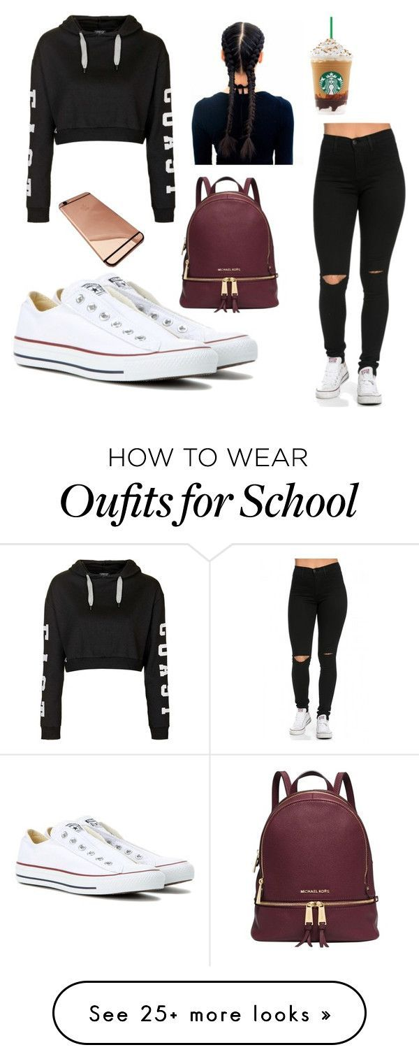 """school outfit #ahzhanaesteen"" by bloggissh on Polyvore featuring Converse, Topshop and Michael Kors"