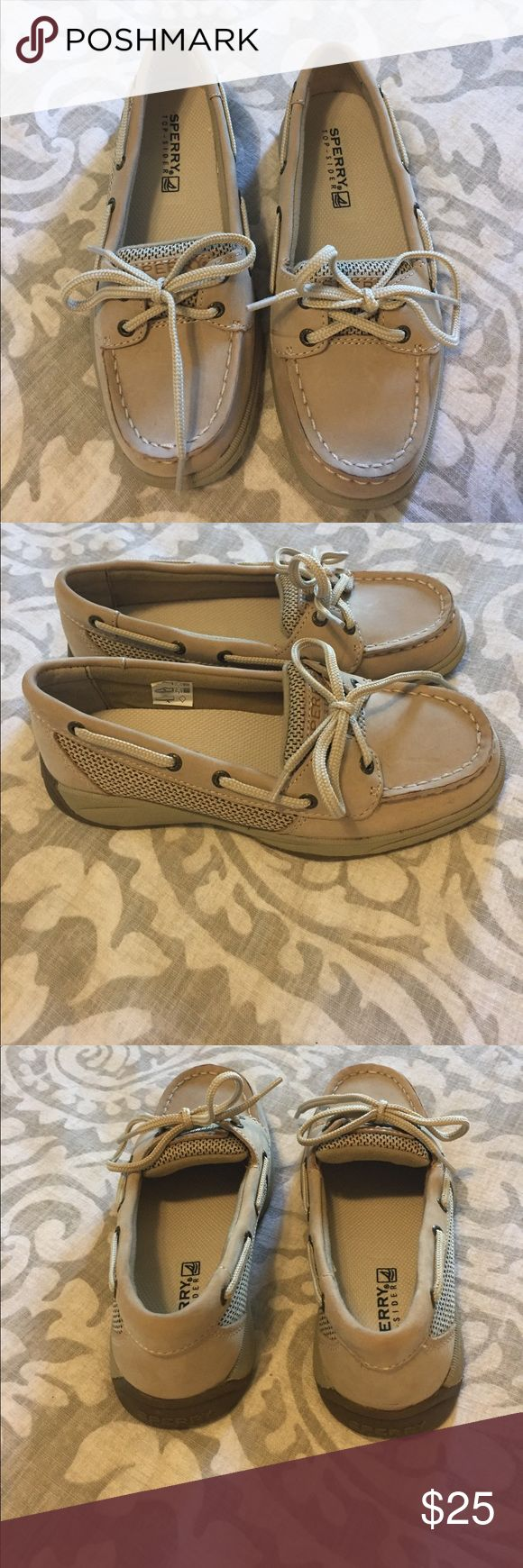 Kids Sperry Top Sider Angelfish Boat Shoe Classic but lower profile boat shoe for girls perfect for back to school! These are New Without box! Non-marking molded out sole. Leather upper. Hand sewn mic construction. Fabric laces. Grommet and lacing detail. Look for all kinds of kids things coming soon! Bundle for savings! Sperry Top-Sider Shoes Moccasins