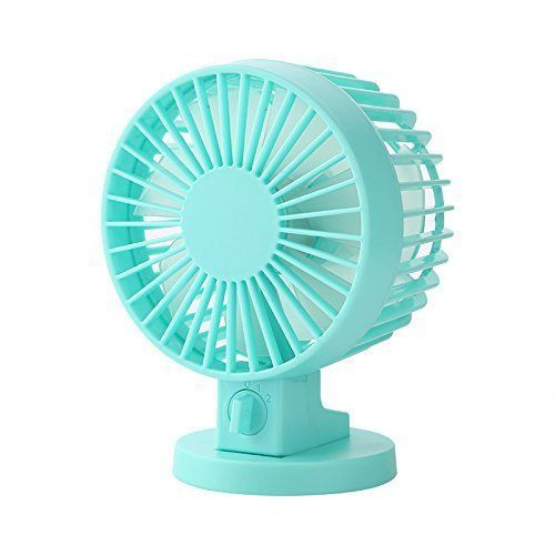 Portable Creative Doublevane Mini USB Desk Fan For Home Office ABS Electric Desktop Computer Fan With Double Side Fan Blades green ** Click image for more details.