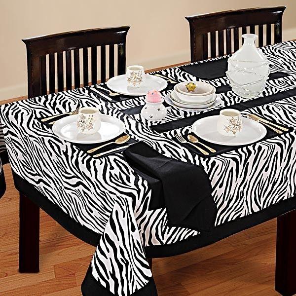 Zebra Printed Rectangular Table Linen-2802