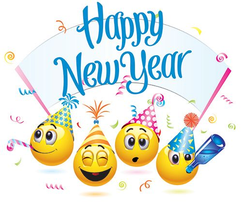 Emoticons wishing Happy New Year